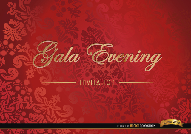 Free Red floral invitation card