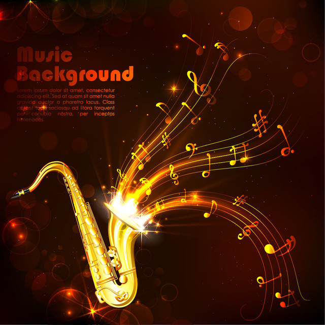 Free Vectors: Creative Gold Musical Background with Saxophone | Vector Background