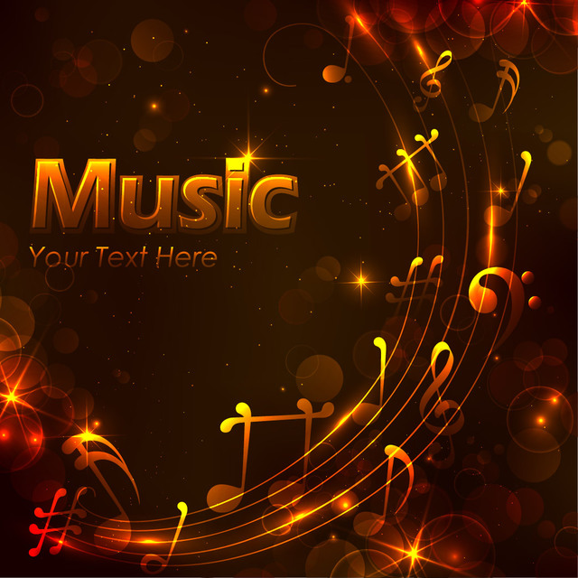 Free Glowing Musical Golden Night Background