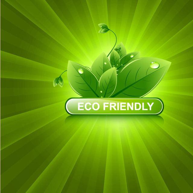 Free Shiny Green Sunburst with Eco Leaves