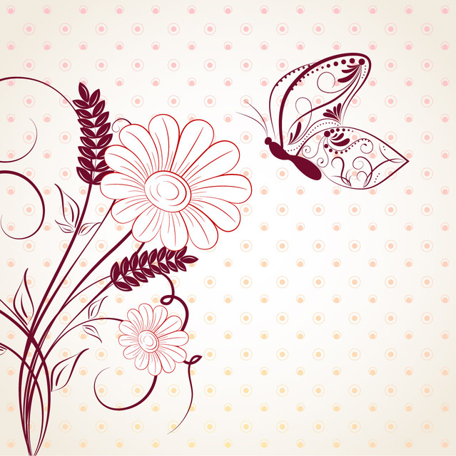 Free Circular Pattern with Abstract Floral & Butterfly