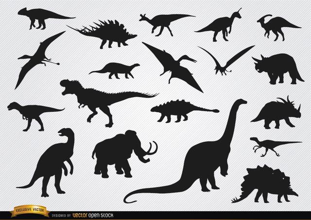 Free Dinosaur prehistoric animal silhouettes