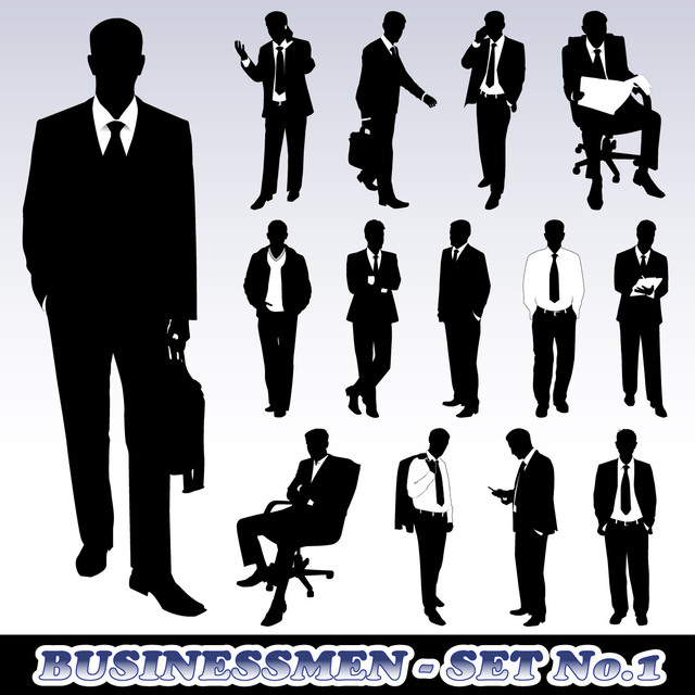Free Set of Business Man Silhouette