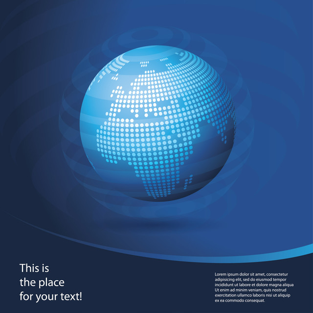 Free Blue Globe Business Background with Curve