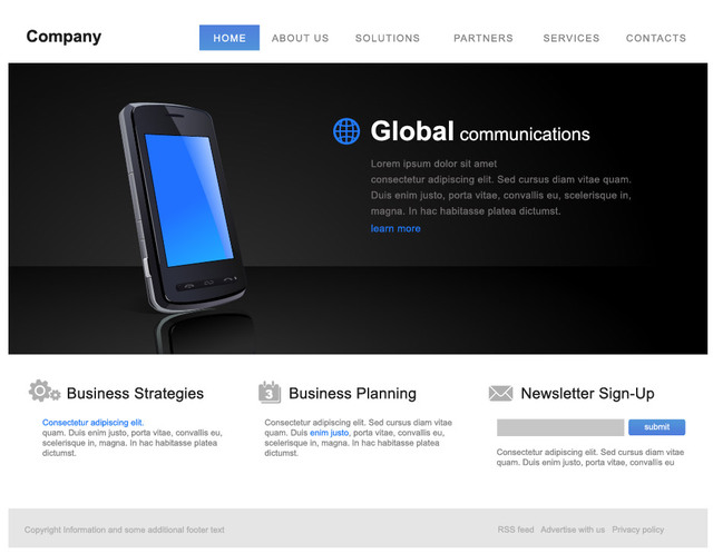 Free Classic Style Corporate Website Template