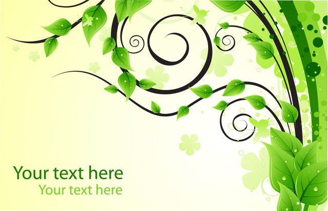 Free Green Swirls & Leaves Background with Droplet