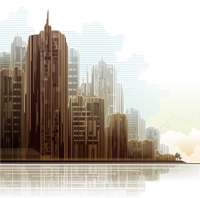 Free Abstract Linen Textured City Skyscrapers