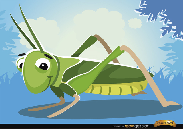 Free Cartoon Grasshopper insect on grass
