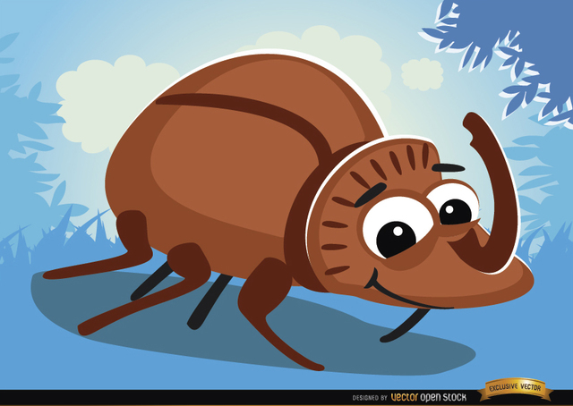 Free Cartoon rhinoceros beetle bug on grass