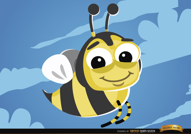 Free Cartoon Bee flying bug