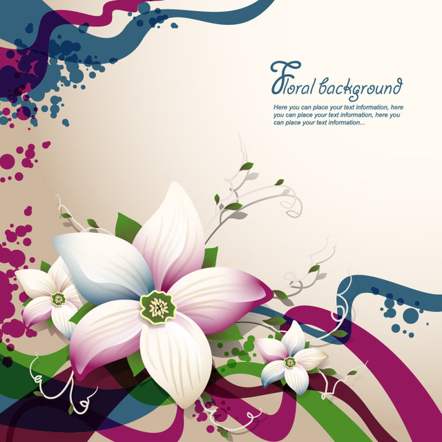 Free Abstract Floristic Background with Waves & Curves