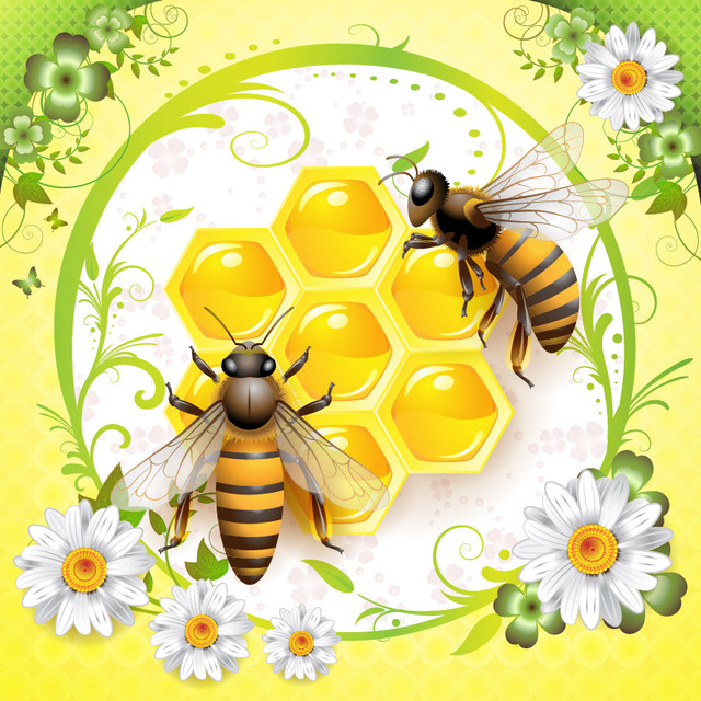 Free Floral Graphic with Honey Bees