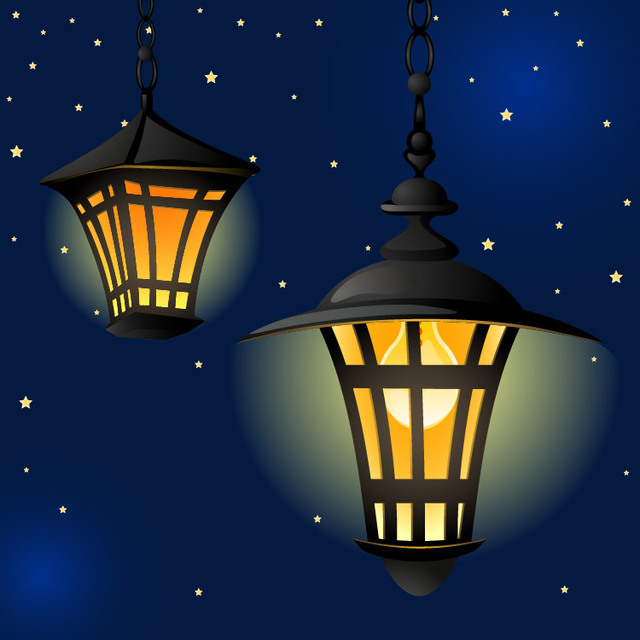 Free Shiny Vintage Lantern in the Night