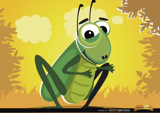 Free Funny cartoon cricket bug
