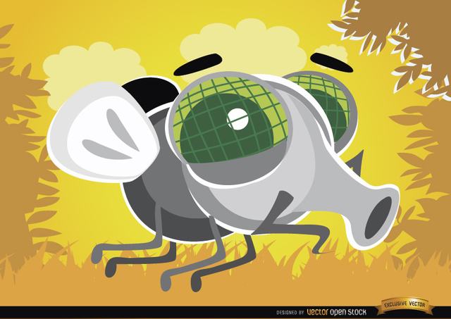 Free Cartoon Fly bug in the air