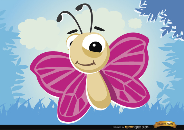 Free Cartoon Butterfly flying bug in forest