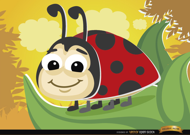 Free Cartoon ladybug on leaf