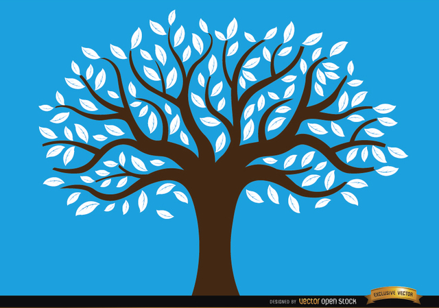 Free Drawn tree with white leaves