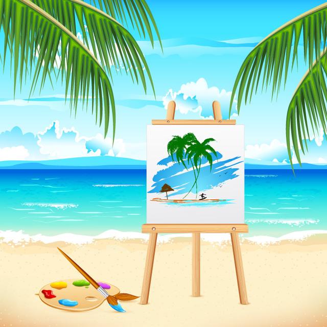 Free Summer Sea Beach with Art Board