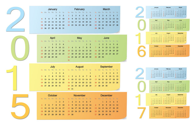 Free Colorful Sticky Note Calendar Pack