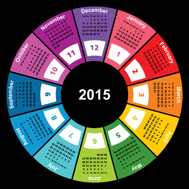 Free 2015 Colorful Geometric Circular Calendar