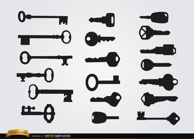 Free Old and modern Keys silhouettes