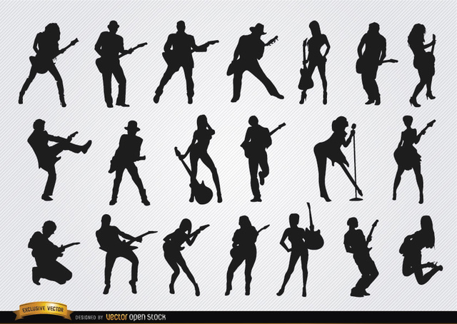 Free Male and female guitarists silhouettes