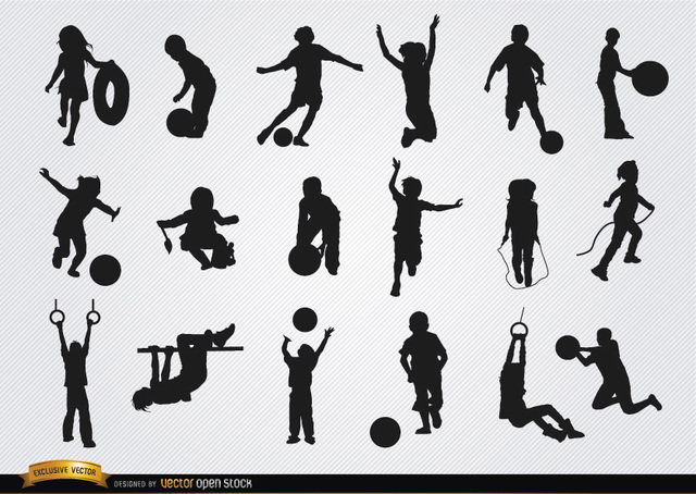 Free Kids playing silhouettes set