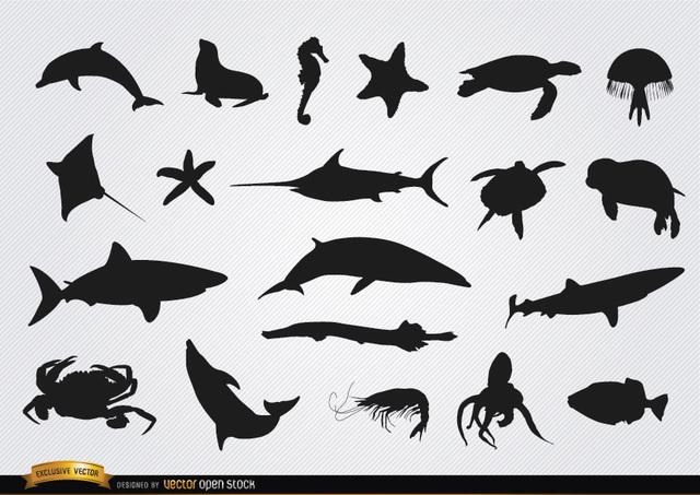 Free Sea animals silhouettes set