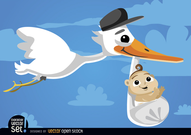 Free Cartoon Stork carrying baby at sky