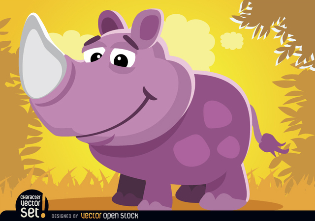Free Purple Rhino in jungle cartoon animal