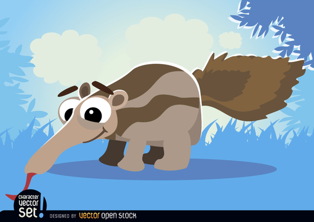 Free Ant-eater on grass cartoon animal