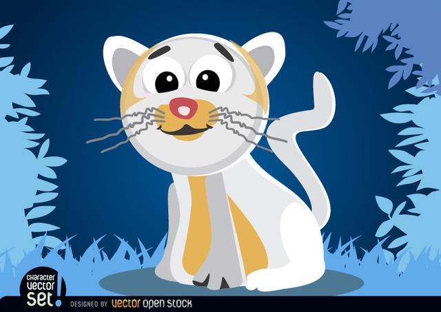 Free White cat cartoon animal