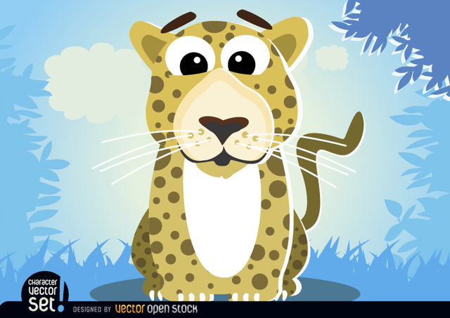 Free Leopard in jungle cartoon animal