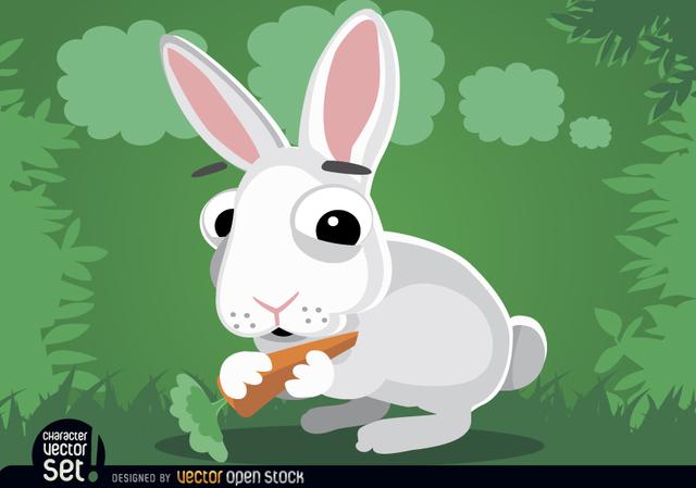Free Rabbit eating carrot cartoon animal