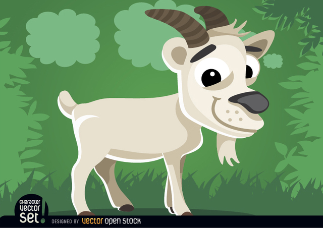 Free Goat on the grass cartoon animal