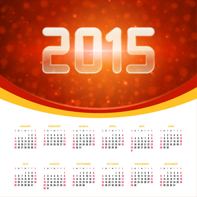 Glowing 2015 Banner with Calendar
