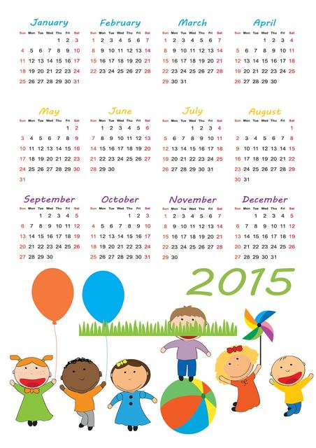 Free 2015 Calendar with Kids Playing Beneath