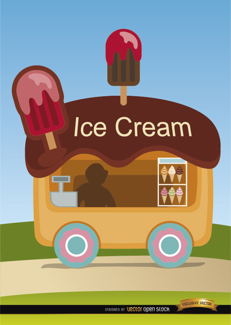 Free Ice cream wagon cartoon