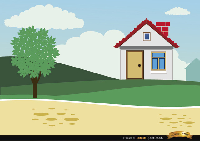 Free Small country cartoon house background