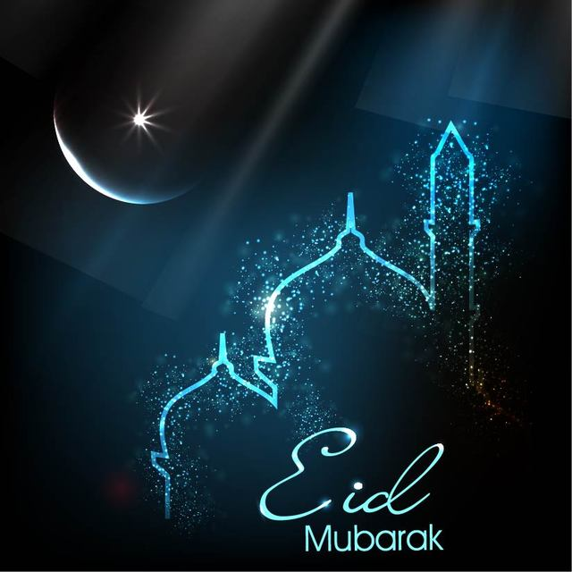 Free Glowing Eid Card with Mosque & Moon