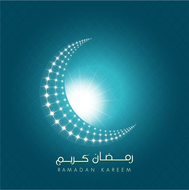 Free Vectors Ramadan Kareem Shiny Crescent Moon Background