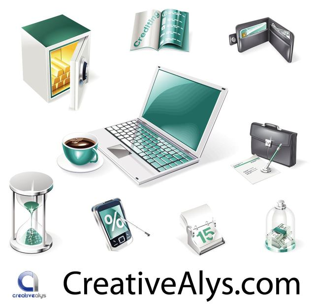 Free Vectors: Creative Realistic Business and Web Icon Set | Creativealys
