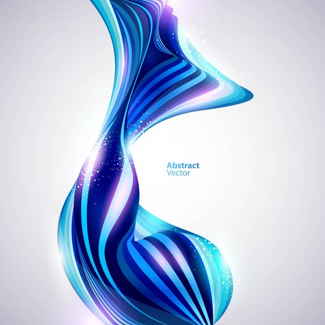 Free Glossy Abstract Blue Curves Background