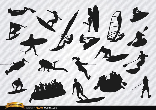 Free On Water sports silhouettes set