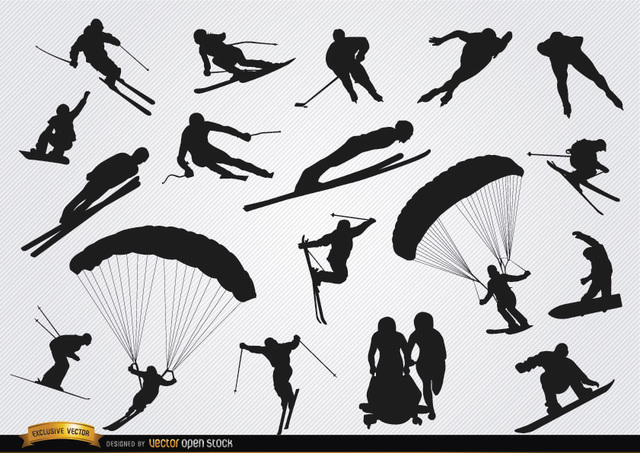 Free Snow sports silhouettes set