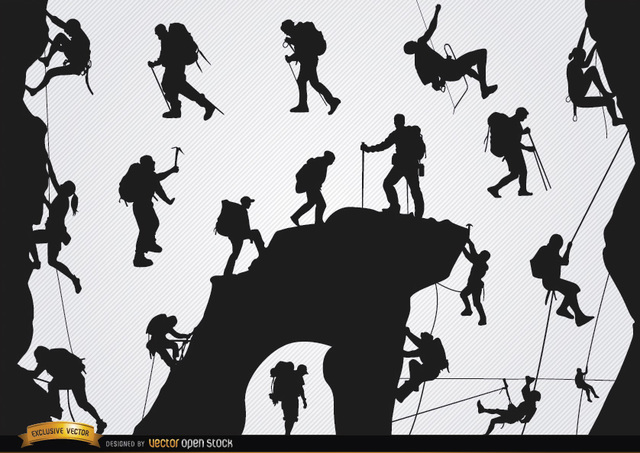 Free Mountain climbing silhouettes set