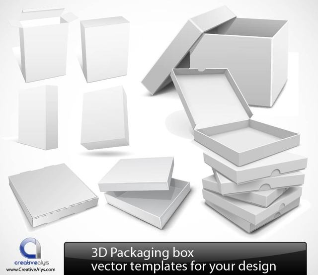 Free Glossy Detailed 3D Packaging Set