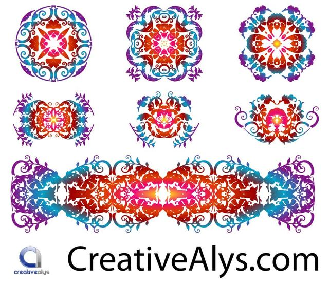 Free Creative Floristic Pattern Set