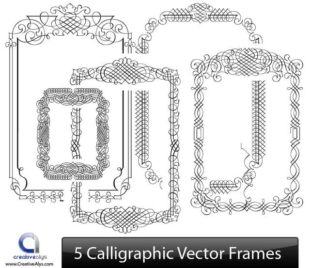 Free Creative Line Art Calligraphic Frame Set